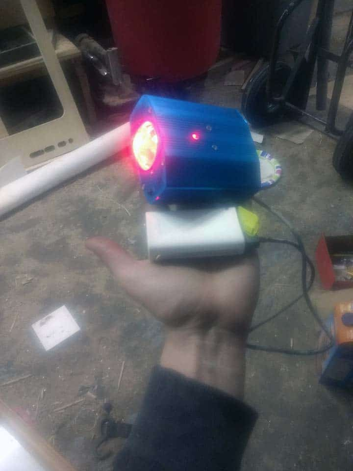 Isaac Doubek's handiwork- He's rewired a multi effect lighting element to portable battery unit for the new custom mosquito mascot