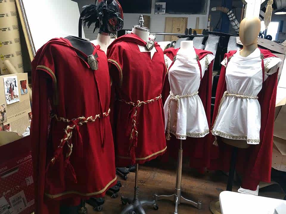 Ready to go to several national hardware shows on great looking models: Custom Spartan tunics, belts and capes. Linen, jute, fun trims and brooches