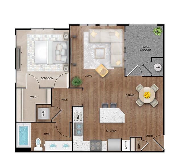 Unit A2 floor plan. 1 bed, 1 bath, 791 square feet