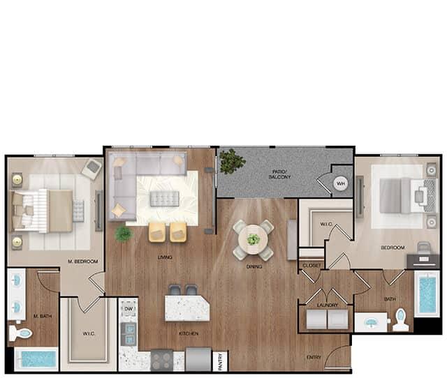 Unit B3 Alt floor plan. 2 bed, 2 bath, 1,292 square feet