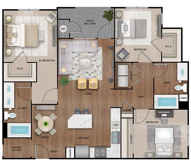 Unit C1 Alt floor plan. 3 bed, 2 bath, 1,300 square feet