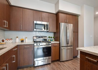 The Crossings of Chino Hills stainless steal appliances in kitchen
