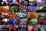 Motorcycle Art Prints|Choppers-Harley-Skulls Grid