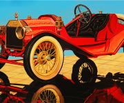Ford Car Art Print|Model T for Two
