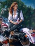 Motorcycle Art Print|Artist Self Portrait on Harley