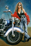Motorcycle Art Print|Harley Babe