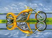 Motorcycle Art Print|Chopper|Gold Digger