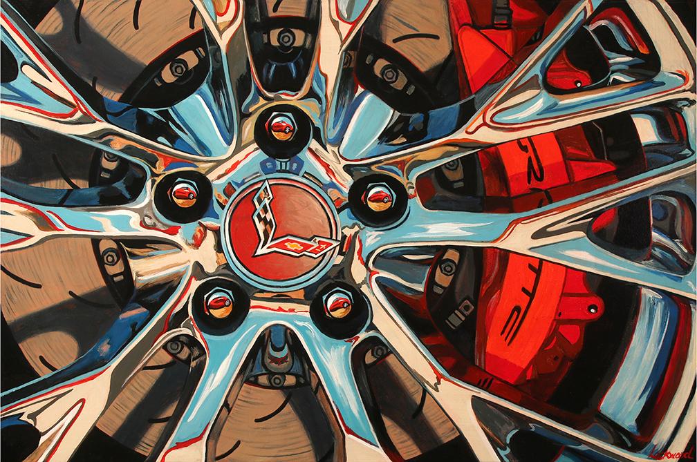 Corvette Car Art Print|Red Vette