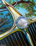 Mercedes Benz Car Art Print|Mercedes Under the Oaks