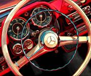 Mercedes Benz Car Art Print Mercedes 190SL Roadster Dash