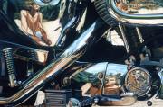 Harley Davidson Motorcycle Art Print|Reflections of a Biker Chick