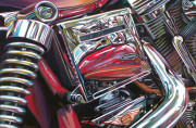 Harley Davidson Motorcycle Art Print|Red on Red