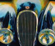 Jaguar Car Art Print XK120 at Cobble Beach
