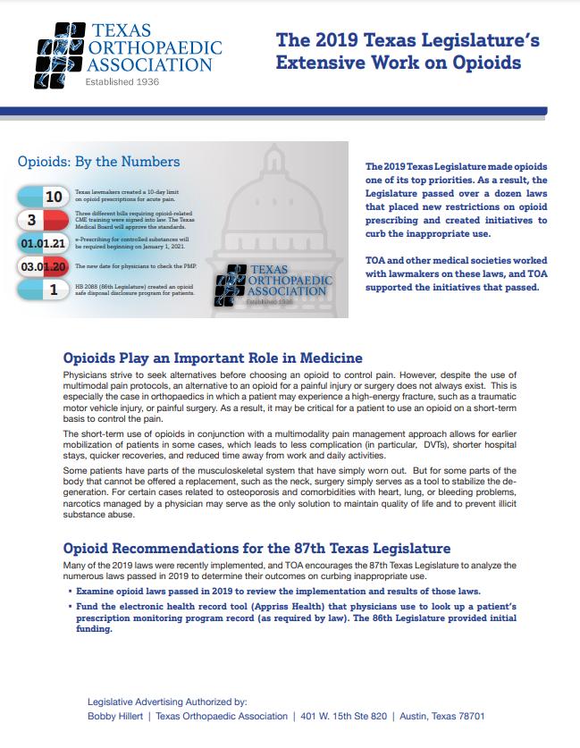 Opioid Recommendations for the 2021 Texas Legislature