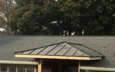 Rheinzink graphite gray porch roof in Chambersburg, PA