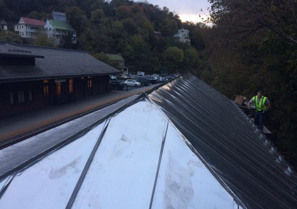 Tin coated stainless steel roof on the historic head house in Harpers Ferry, WV
