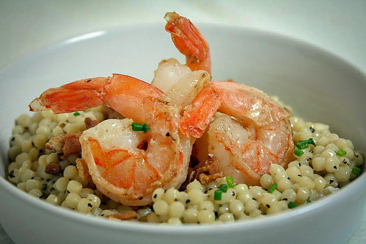 Shrimp & Israeli Couscous Carbonara