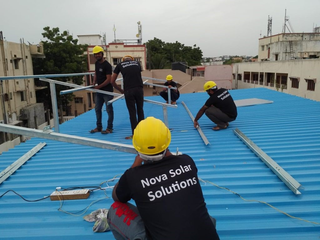 A 4 Kw Solar System installation underway