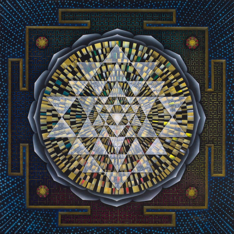 Sri Yantra Canvas Giclée 24×24 – Not Stretched