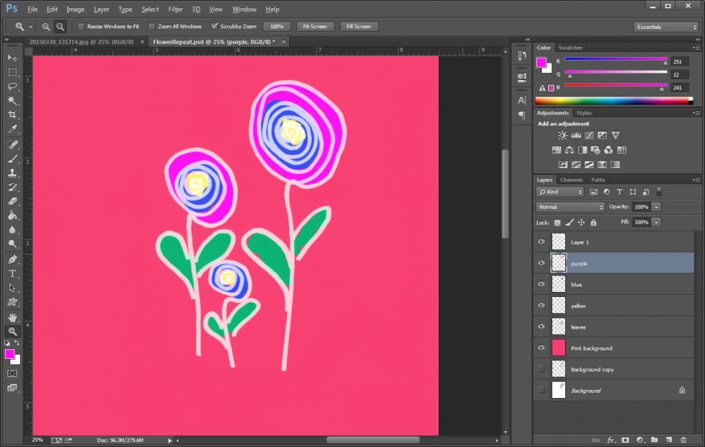 Coloring your seamless pattern in Photoshop.