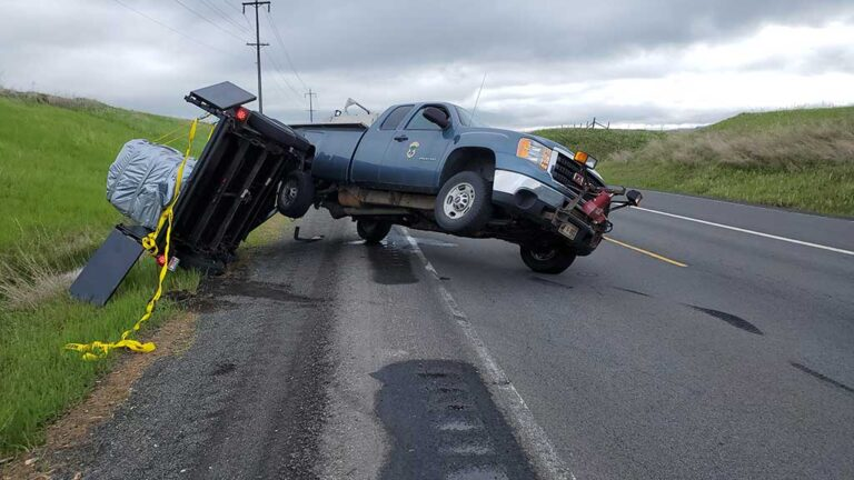 Truck and Trailer Jack Knifed