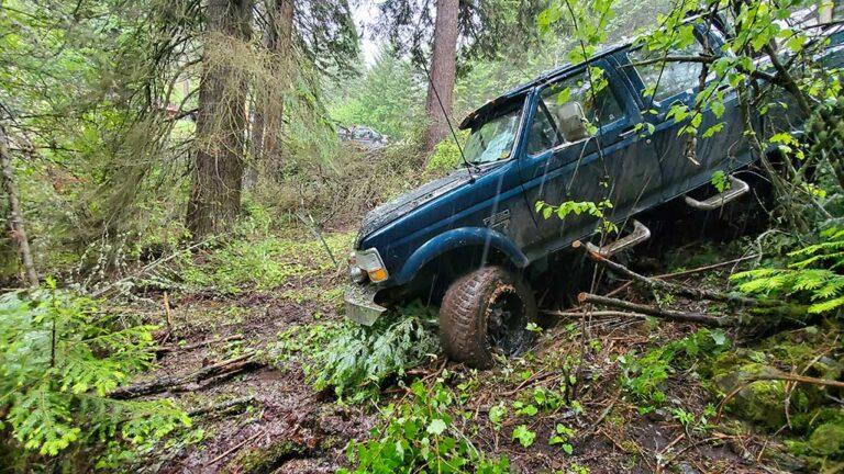Truck slipped down embankment