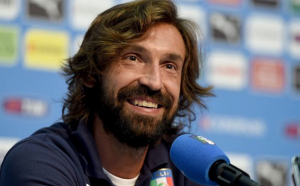 Pirlo at a press conference while playing for the Italian national team