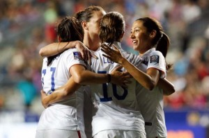 The USWNT v Germany in the semi final of the Women's World Cup