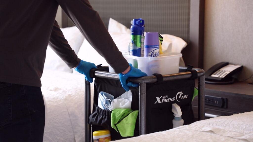 Housekeeping cart in guest room.