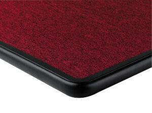 Red carpet with black bumper deck