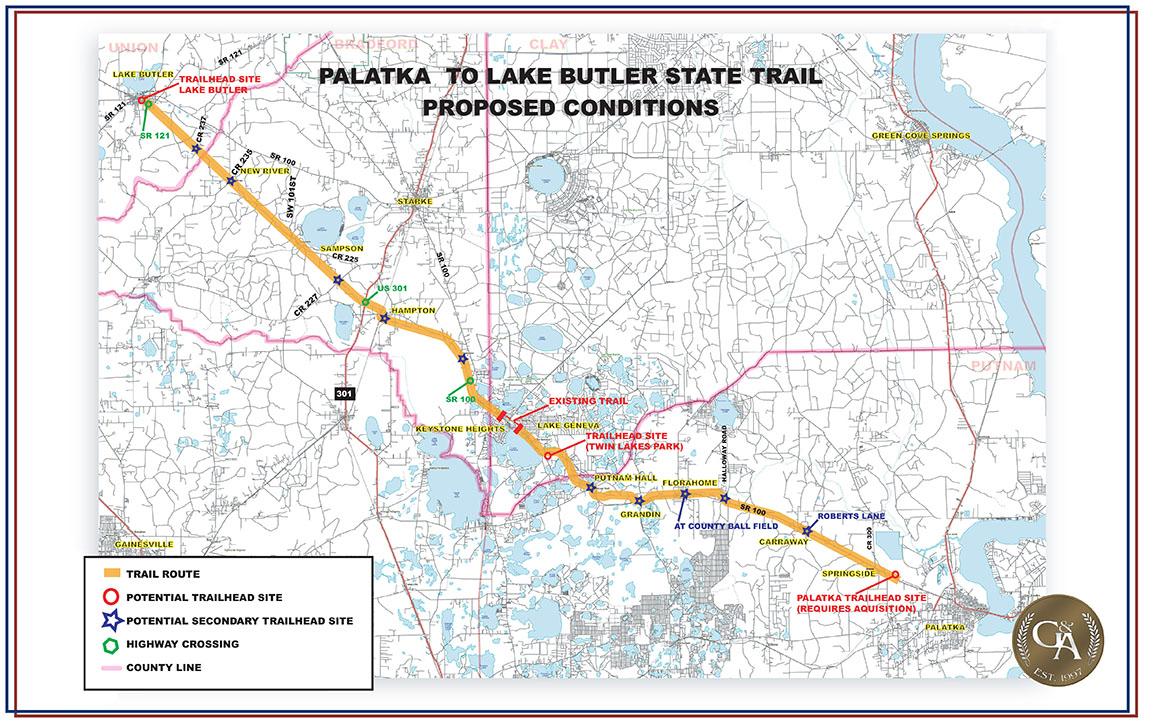 Map of Palatka to Lake Butler Trail Improvements