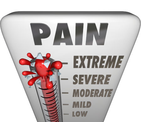 A thermometer measuring your pain level with mercury rising past low, mile, moderate, severe and bursting at the maxium level, Extreme