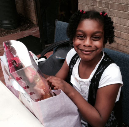 Girl receiving gift