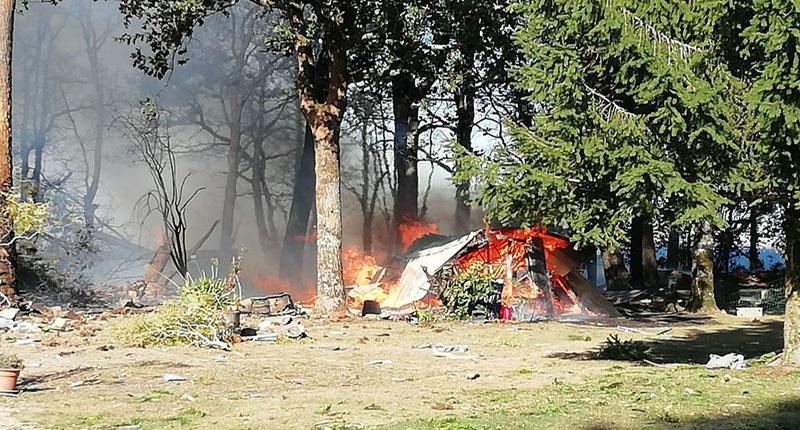 The crash set a field on fire