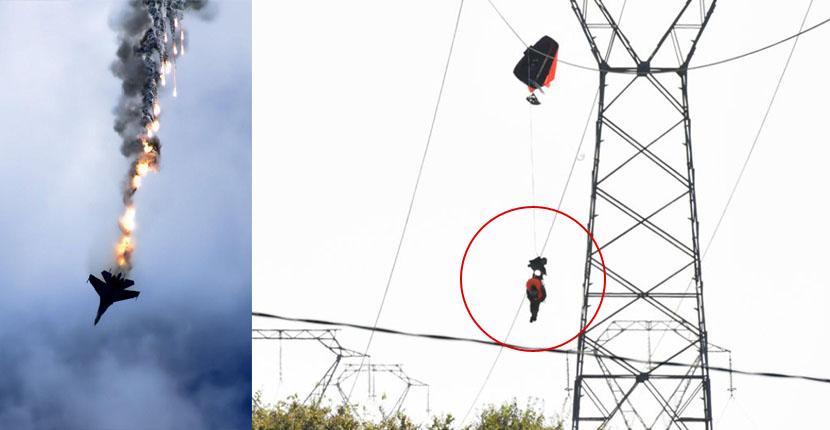 Fighter pilot hangs on high-voltage power lines after F-16 jet crash in France