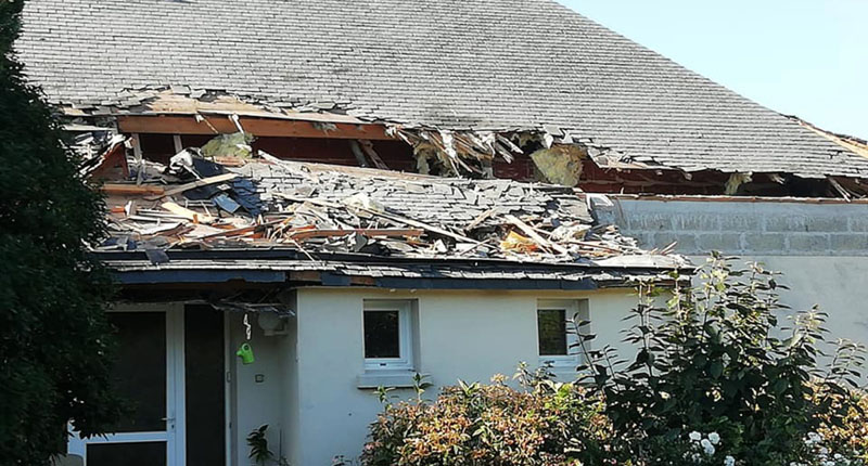 This house was damaged but no-one was hurt