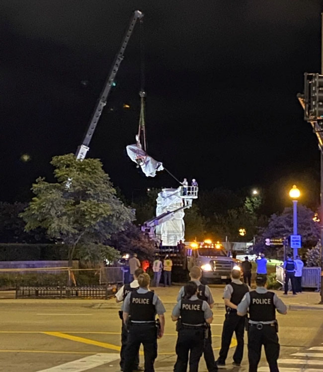 Police stood by during the statue's removal