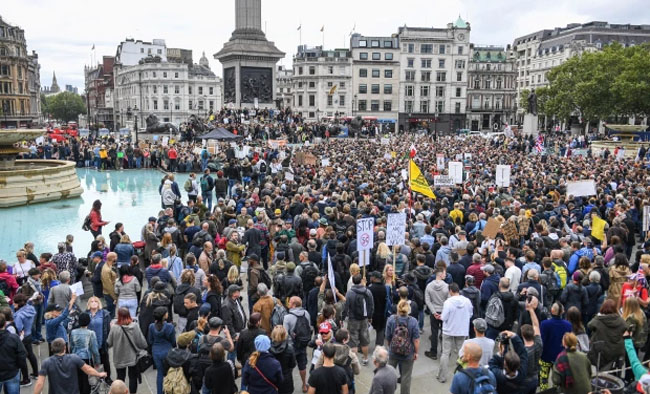 A large crowd gathered to protest in central London