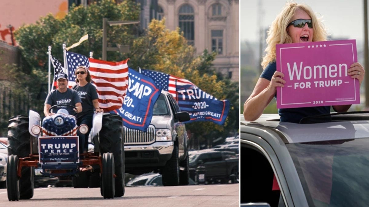 Thousands of Trump fans join huge motorcade in Iowa backing the president with flags and banners