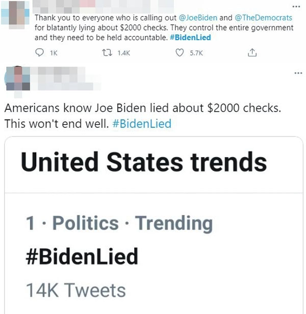 The hashtag BidenLied has been trending