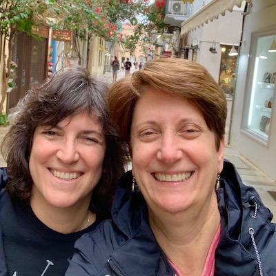 Diana Laskaris and Sue Reddel in Greece