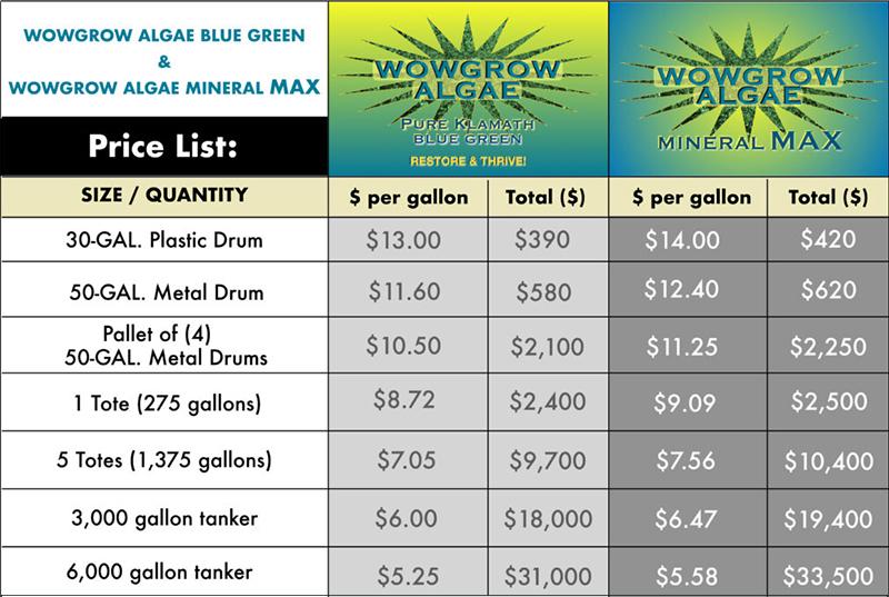 Price List for WOWGROWAlgae and WOWGROWAlgae Mineral Max per size/quantity. Prices are per gallon and total cost per quantity.