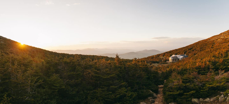 Madison Springs Hut at sunset