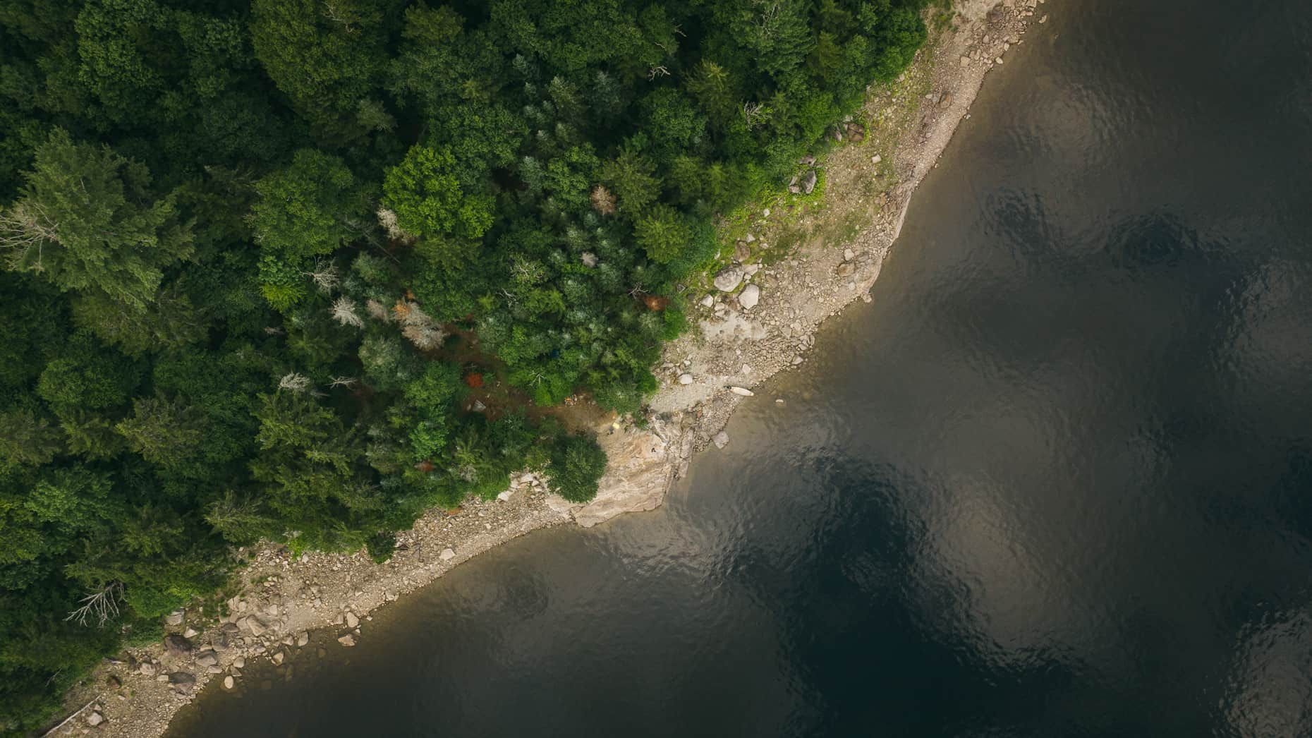 Top down view of Beaver Island on Aziscohos Lake