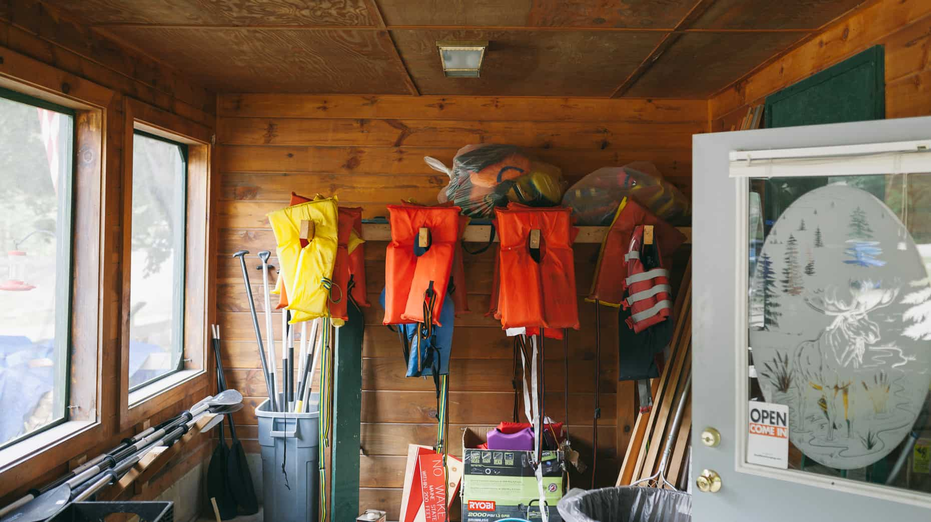 Life jackets in the entrance of Black Brook Campground general store.