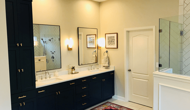 After photos of lavatory cabinets and beautiful lignting -Johnson