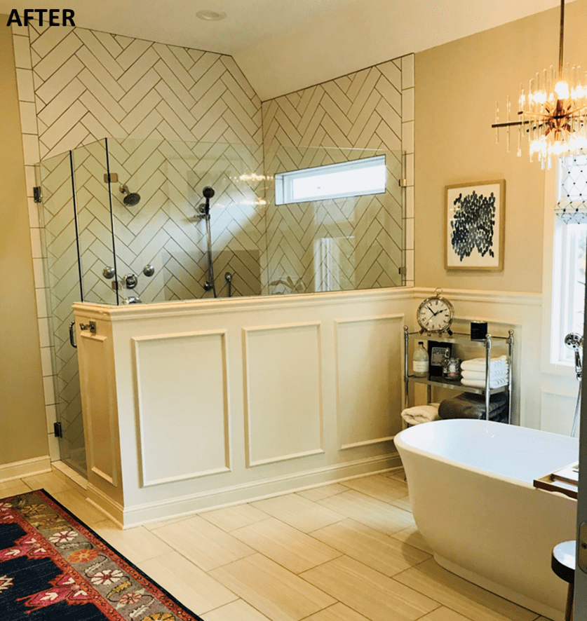 After photos of shower remodel with tile in herringbone pattern - Johnson