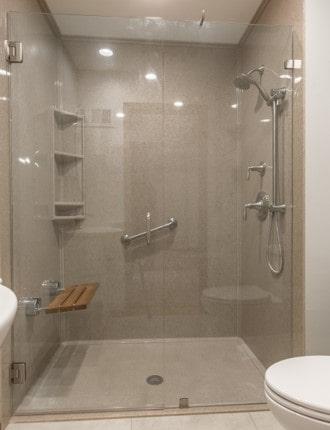 Onyx caramel barrier free shower davis bathroom remodel