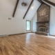 Open concept cathedral family room with new wood flooring davis home remodel