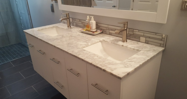 grey glass tile accessible lavatory
